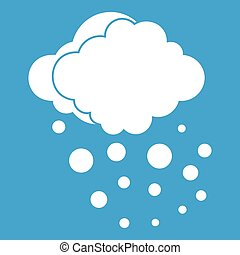 Cloud with hail icon white isolated on blue background...