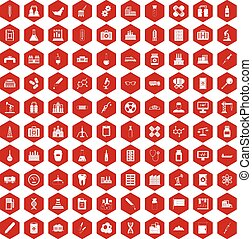 100 chemical industry icons hexagon red - 100 chemical...