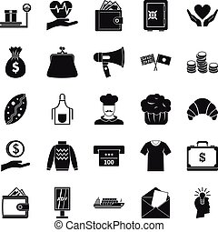 Alms icons set, simple style - Alms icons set. Simple set of...