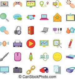 Computer part icons set, cartoon style - Computer part icons...