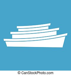 Wooden boat icon white isolated on blue background vector...