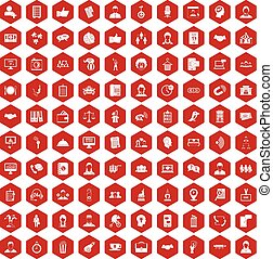 100 coherence icons hexagon red - 100 coherence icons set in...