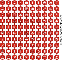 100 barber icons hexagon red - 100 barber icons set in red...