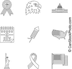 Independence day icon set, outline style