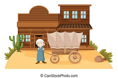 Arab man stands in western town illustration