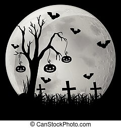 Silhouette background with bats in graveyard
