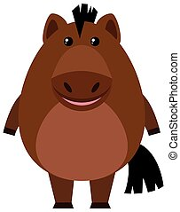 Brown horse on white background illustration