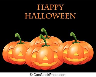 Happy Halloween card with jack o lanterns illustration