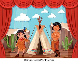 Native americans roleplay on stage illustration