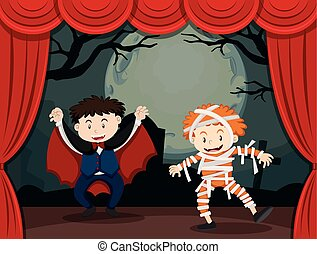 Two boys in halloween costume on stage illustration