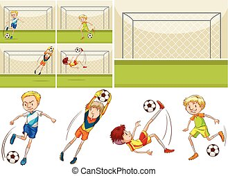 Football players in the field illustration
