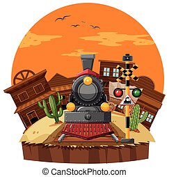 Train ride in western town illustration