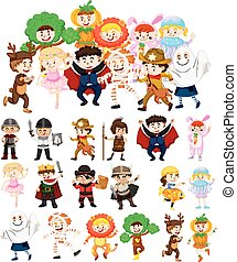 Children in halloween costumes illustration