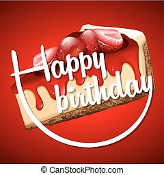 Happy Birthday card template with cheesecake illustration