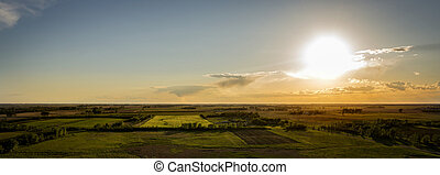 Summer Mid West Sunset - Aerial Midwest, South Dakota,...