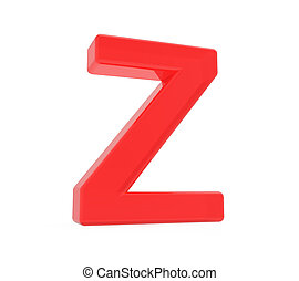 red letter Z, 3D rendering graphic isolated on white...
