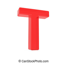 red letter T, 3D rendering graphic isolated on white...