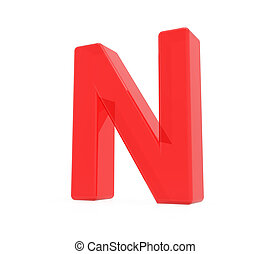 red letter N, 3D rendering graphic isolated on white...