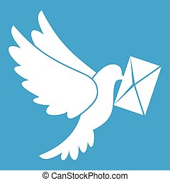 Dove carrying envelope icon white isolated on blue...
