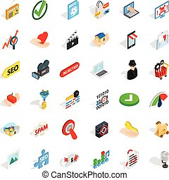 Computer protection icons set, isometric style - Computer...