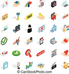 Cyber security icons set, isometric style - Cyber security...