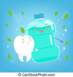 tooth with mouthwash - cute cartoon tooth with mouthwash on...