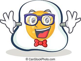 Geek fried egg character cartoon