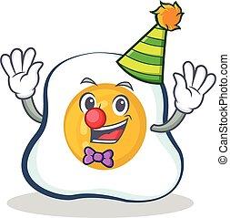 Clown fried egg character cartoon