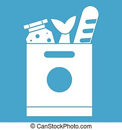 Grocery bag with food icon white isolated on blue background...