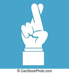Fingers crossed icon white isolated on blue background...