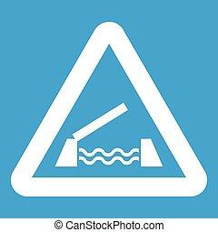 Lifting bridge warning sign icon white isolated on blue...
