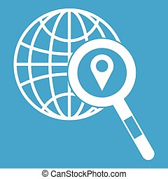 Globe, map pointer and magnifying glass icon white isolated...