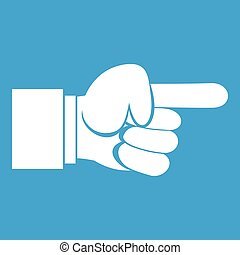 Pointing hand gesture icon white