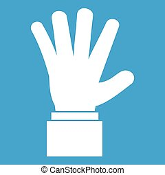 Hand showing five fingers icon white