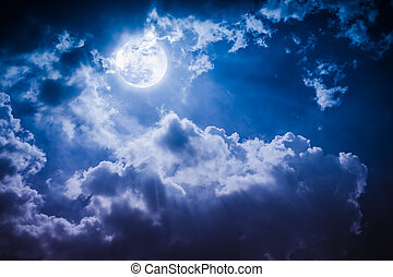 Night landscape of sky with cloudy and bright full moon with...