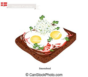 Smorrebrod with Fried Egg, The National Dish of Denmark -...