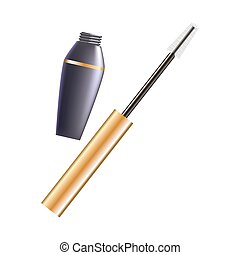 Opened mascara and brush - Vector illustration of tube and...