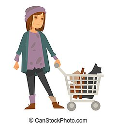 Sad homeless woman in stained sweater with metal cart - Sad...