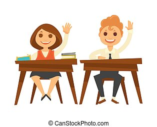 Children sit at wooden desks and raise hands - Children with...