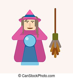 Evil witch with ball of predictions and broom vector illustration.