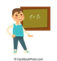 Schoolboy stands near chalboard with drawn mathematical...