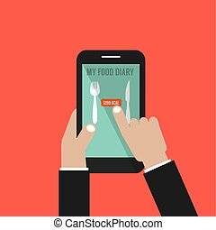 Smartphone With Food Application Basal Metabolic Rate (BMR)...
