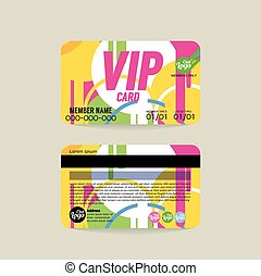 Front And Back VIP Member Card Template Vector Illustration