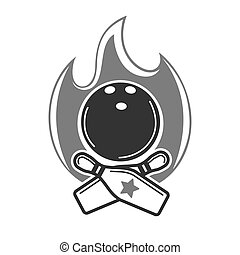 Monochrome bowling emblem with fire and game equipment -...