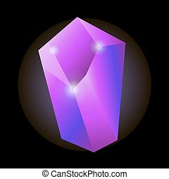 Shiny purple natural crystal with luminescent properties...