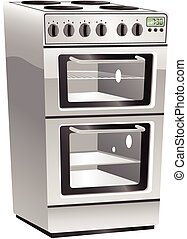 Cooker oven and hob.eps - An illustration of a typical...