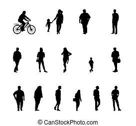 Set of Silhouette Walking People and Children. Vector Illustration.