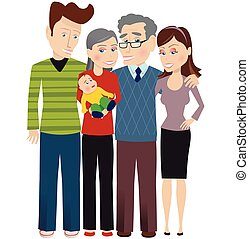 Grandparents and new baby.eps - An illustration of a three...