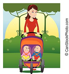 Mother and baby stroller.eps