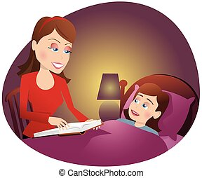 Mother reading to girl in bed.eps